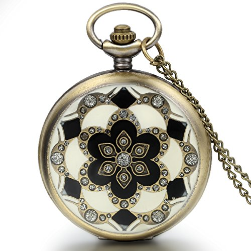 JewelryWe Romantic Peach Cherry Blossom Floral Woman Men Pocket Watch Pendant Necklace with Chain in Gift ()