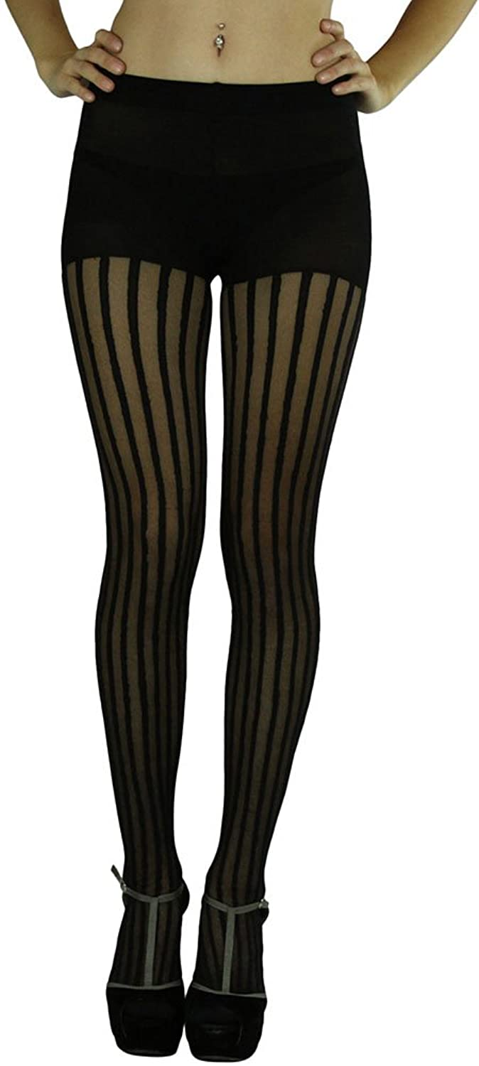 Women's Pin Striped Full Footed Pantyhose