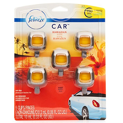 Febreze Car Air Freshener, Set of 5 Clips, Hawaiian Aloha - up to 150 Days
