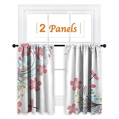maisi Dragonfly, Curtains and Valances, Dragonflies Flower Field Spring Season Inspirational Natural Ecological Life Theme, for Bathroom (W72 x L45 Inch) Pink Blue (Miami Hurricanes Valance)