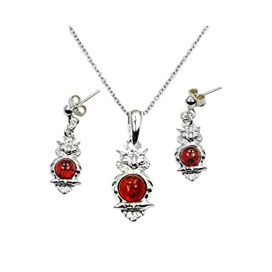 96727659230e5f Image Unavailable. Image not available for. Color: Sterling Silver Natural Baltic  Amber Owl Pendant Necklace and Dangle Earrings Set