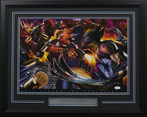 Wolverine Vs Deadpool Framed 13X19 Ltd Ed Lithograph Autographed Signed Memorabilia By Greg Horn - JSA Authentic