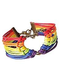 Susenstone Rainbow Flag Pride LGBT Charm Heart Braided Bracelet Gay Lesbian Love Bracelets