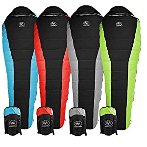 Outdoor Vitals Atlas 15°F Lightweight Down Sleeping Bag with Compression Sack & (Red, Regular)