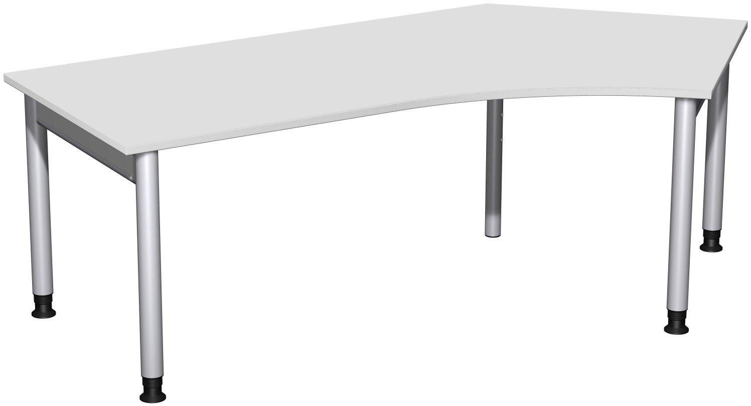 Geramöbel Schreibtisch 135° rechts höhenverstellbar, 2166x1130x680-820, Lichtgrau/Silber