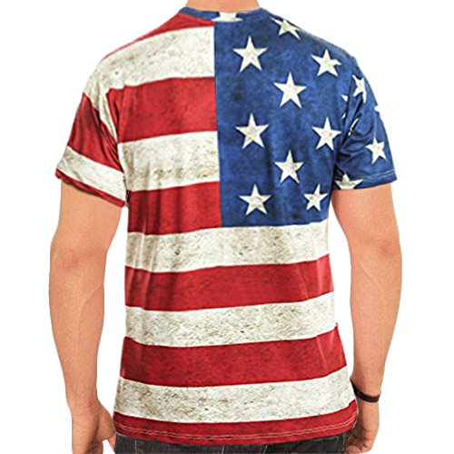 Arvilhill Men's 4th of July American Flag Casual Tops Patriotic Short Sleeve Hip Hop T Shirts Red and White XL