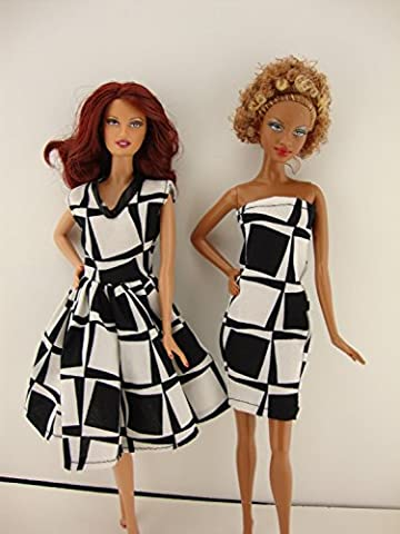 Set of 2 Black Dresses Both in a Fun Geometric Pattern Made to Fit Barbie Doll (Dresses With Geometric Pattern)