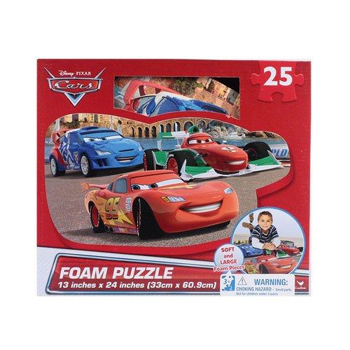 3 Floor Puzzle Mat - Disney Cars 25-Piece Floor Foam Puzzle Mat (2 Piece), red