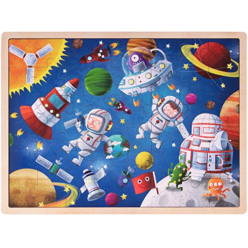 Ollie and Mr. Noodle: Adventurous Astronauts Jigsaw Puzzle   Children's 48 pc. Wooden Inset Travel Frame   Alien Planets, Space Ships, Early Learning, and Educational Fun for Kids and Toddlers