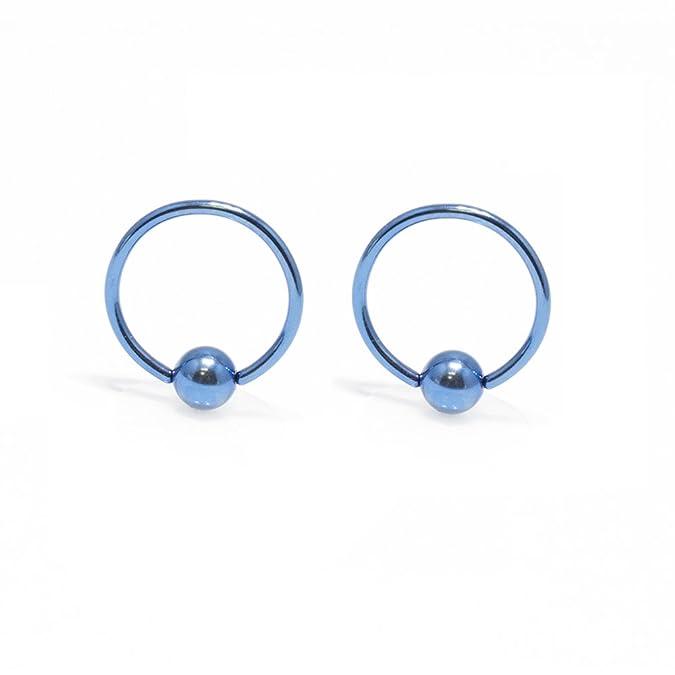 6pc Of Captive Bead Rings 16G Nose Lip Ear Cartilage Tragus Anodized Titanium