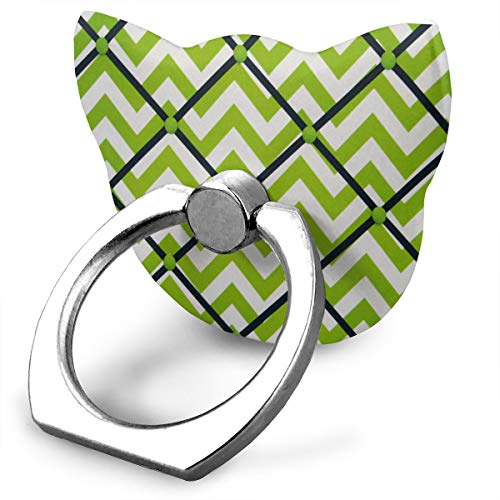 (Ring Holder Chartreuse Green White Navy Chevron Cat Type Ring Phone Holder Adjustable 360° Rotation Finger Grip Holder for IPad Phone X/6/6s/7/8/8 Plus/7, Galaxy S9/S9 Plus/S8/S7 Android Smartphone)
