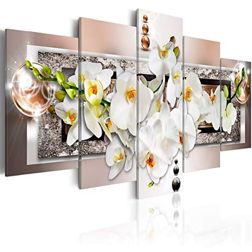 White Abstract Orchid Flower Canvas Wall Art Floral Print Painting Modern Decor Artwork