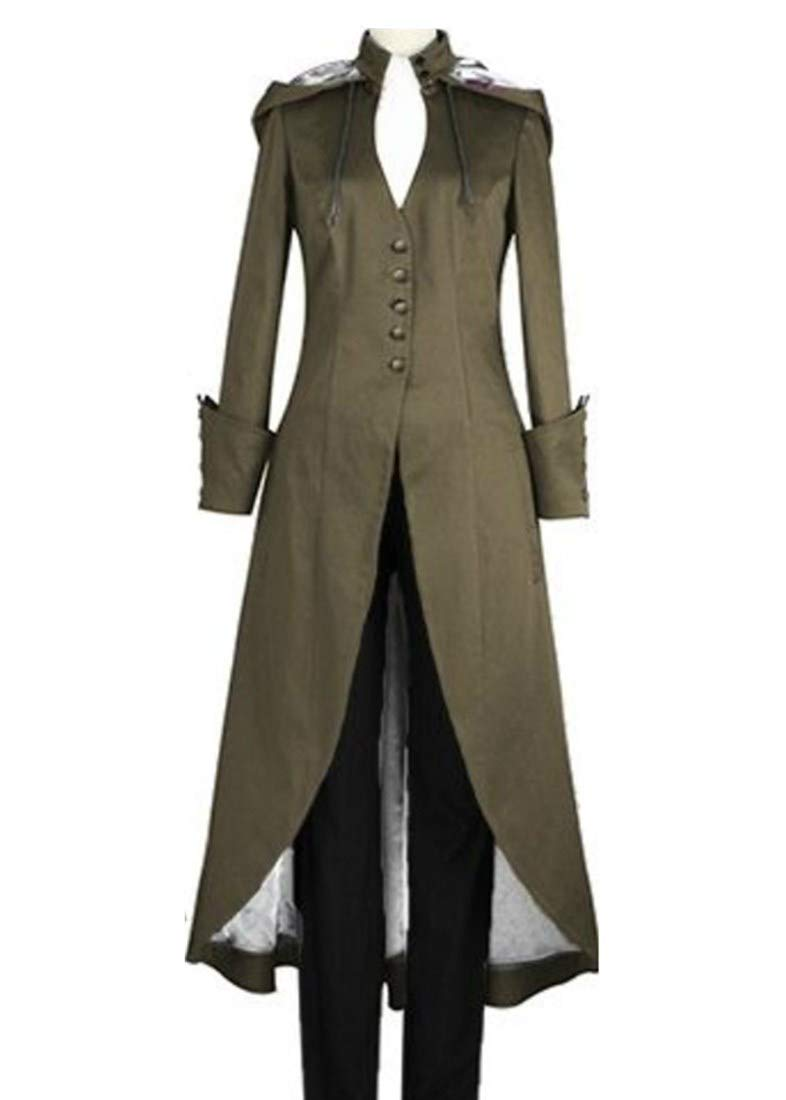 Momo Womens Plus Size Gothic Steampunk Vintage Tailcoat Jacket with Hood Long Trenchcoat