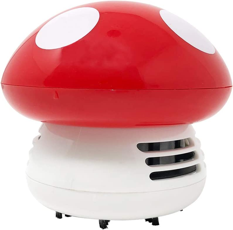 Allydrew Cute Portable Mini Vacuum Cleaner for Home and Office, Mushroom