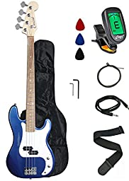Crescent EB46-BCM Electric Bass Guitar Starter Kit, Blue Chrome Metallic