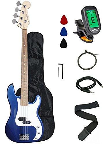 Crescent EB46-BCM Electric Bass Guitar Starter Kit, Blue Chrome -