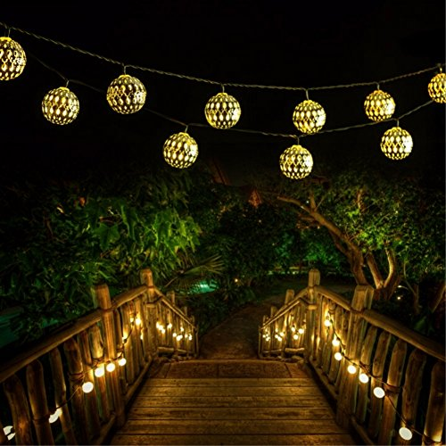 Solar String Light Outdoor, Goodia 30 LED Gold Moroccan Waterproof Warm White String Lights for...