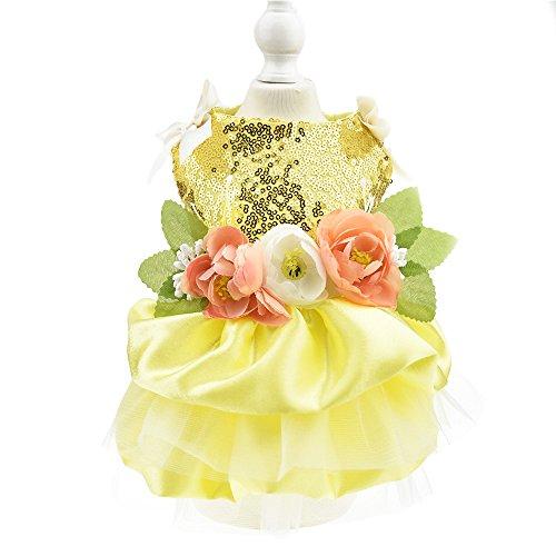 Biling Dog Wedding Dress Flower Dog Pet Cat Luxury Princess Party Dress Summer Dog Chihuahua Clothes Costume (L, Yellow)]()