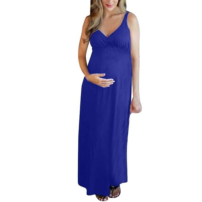 Vestidos de Mujer Moda Color Sólido Cuello en V Ropa premamá Woman ...