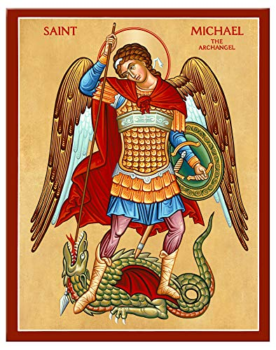 """(Monastery Icons Archangel Saint Michael The Defender Mounted Plaque Icon Reproduction (7.8"""" x 10""""))"""
