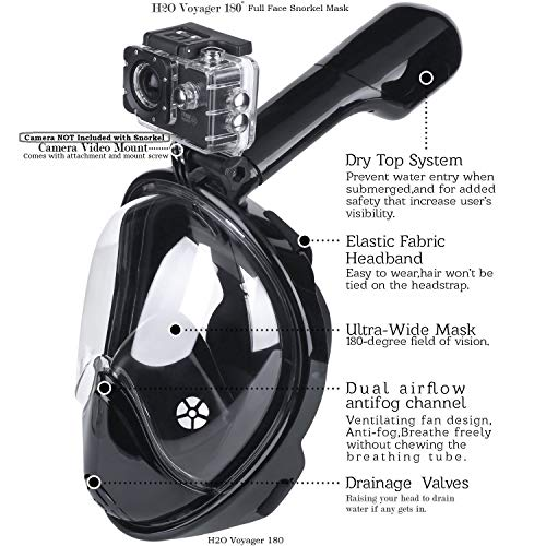Voyager H2O 180° Latest 2018 Full Face Snorkel Mask