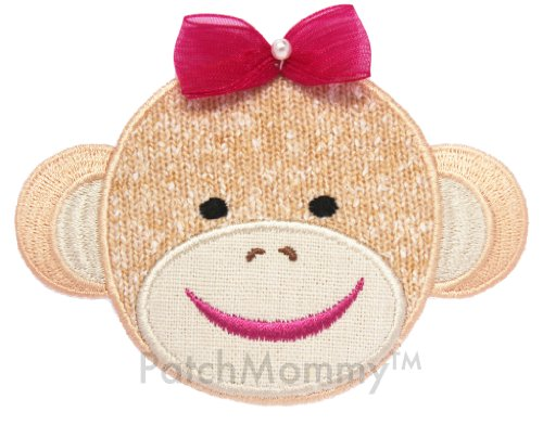 PatchMommy Iron On Applique Patch, Girl Sock Monkey - Kids Baby - Iron On Patches Monkey