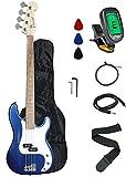 Crescent EB46-BCM Electric Bass Guitar Starter Kit, Blue Chrome Metallic