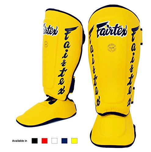 (Fairtex Twister Shin Guards, SP7 - Detachable In-Step Shin Pads (Yellow,)