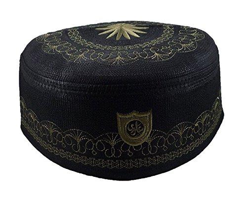 Price comparison product image Alwee ALW005 Muslim Prayer Hat Men Islam Kufi Headware Skull Cap Ramadan Eid Gift (24 inch (61 cm.),  Black)