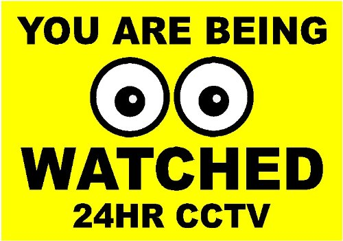 You Are Being Watched 24 Hour CCTV Sign. YELLOW & Black Size 1 All Weather Waterproof Rigid Plastic 300x210mm x 3mm Thickness (12 x 8 1/8 x 1/8 inches)[SIGNS] [Cards] - Oaks Hours Twelve