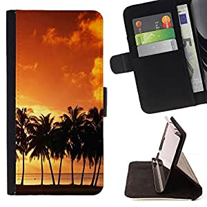 For Samsung Galaxy Core Prime - Sunset coconut Beautiful Nature 120 /Funda de piel cubierta de la carpeta Foilo con cierre magn???¡¯????tico/ - Super Marley Shop -