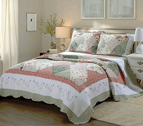 Cozy Line Home Fashions Floral Patchwork Tiffany Green Pink Lilac Country, 100% COTTON Quilt Bedding Set, Reversible Coverlet Bedspread, Scalloped Edge,Gifts for Women (Celia Tiffany, King - 3 piece) (Floral Cream Pink)