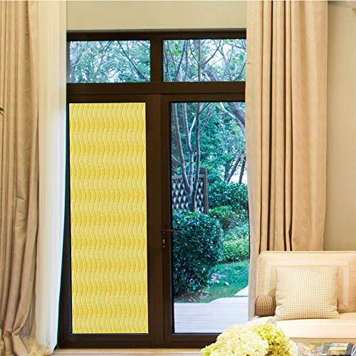 YOLIYANA Waterproof Window Film,Yellow Decor,for Bedroom Living Room Kitchen,Quatrefoil Moroccan Themed Oval Geometric Ombre Pattern -