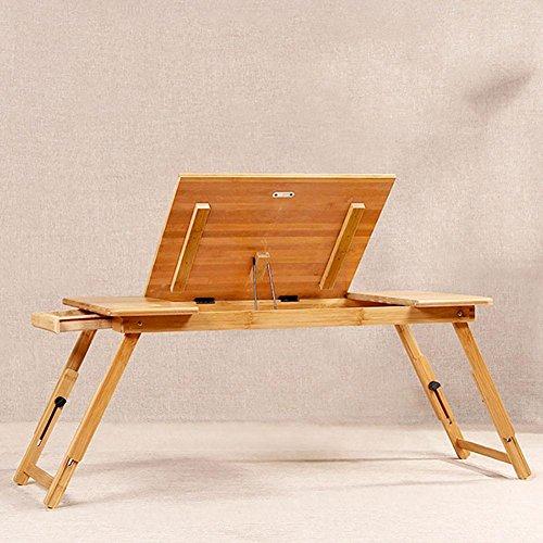 KSUNGB Laptop desk Bed Fold Lazy People Desk Writing desk Bed Desk Can lift up and down, Wood color, 7234cm by KSUNGB