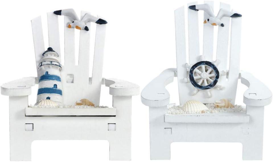 Toyvian Adorno de Decoración en Miniatura Náutica de Playa 2 Piezas Modelo de Silla de Playa de Madera Pequeña Decorada con Rueda de Barco Faro