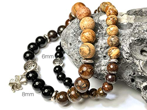 Men's Irish Pint-of-Stout Bracelet with Celtic Knot - Unique Gift for Guinness Lover - Black Onyx Brown Stone ()