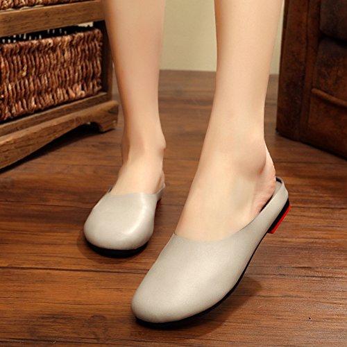 Été Nouveau GUANG Main pour Baotou 41 Rétro Original Fond Femmes Chaussures Chaussures La Black 42 Pantoufles XING Femme Littéraire à Grey à Plat 5EqEg