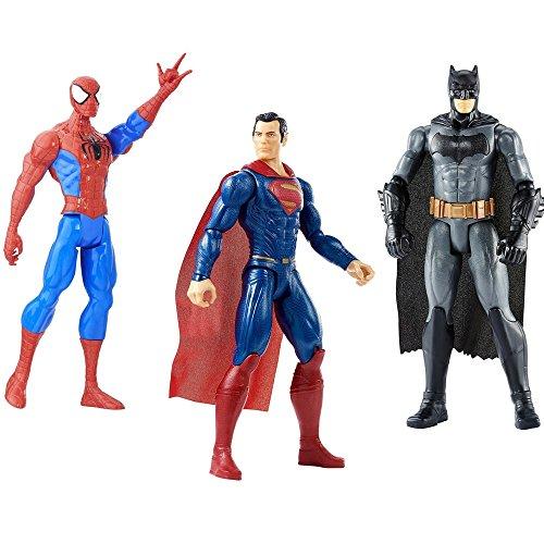3 LOT Marvel Batman v Superman and Marvel Spider-Man Titan Hero Series Spider-Man 12 inch. Figure
