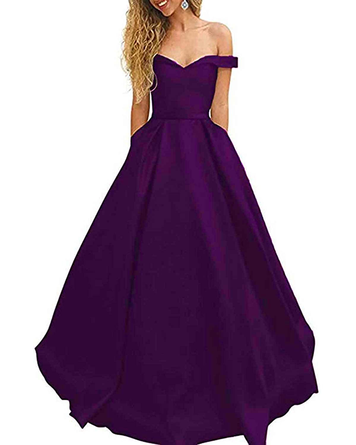 Dark Purple WHLWHL OffTheShoulder Long Prom Dress Party Gowns for Women 2019 Evening with Pockets