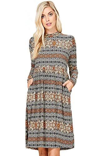 Annabelle Womens Boho Printed High-Neck Long Sleeves Pleated Loose Dress With Pocket Black Multi Medium D5278B (Empire Style Dress)