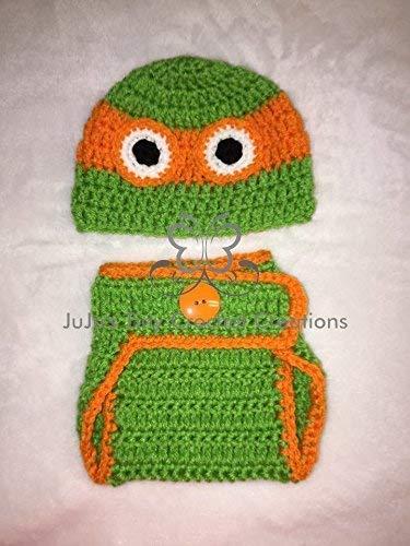 Crocheted Handmade Baby Newborn Infant Orange Turtle Outfit - Photo Prop - Halloween Costume - Baby Shower Gift - Turtle - Superhero (Outfit Turtle Crocheted)