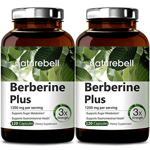 NatureBell Berberine Plus, 1200mg Per Serving, 120 Capsules, Supports Glucose Metabolism, Immune System, Fat Burn, Cardiovascular and Gastrointestinal Function, No GMOs and Made in USA 2 Pack