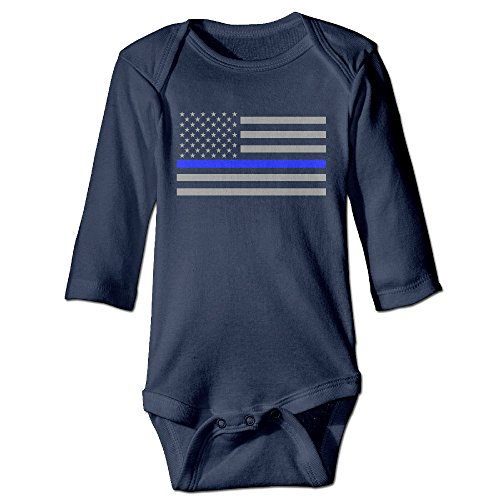 HYRONE Thin Blue Line American Flag Baby Bodysuit Long Sleeve Climbing Clothes Size 12 Months Navy
