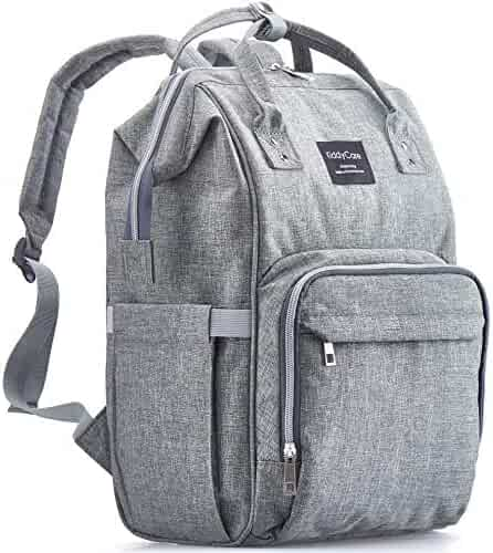 Diaper Bag Backpack, KiddyCare Multi-Function Waterproof Maternity Nappy Bags for Travel with Baby, Large Capacity, Durable and Stylish, Gray