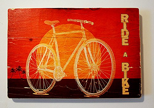 Original Retro Sunset Bicycle Wall Art on Distressed Wood Boards - Ride a Bike - Beach Cruiser, Palm Trees