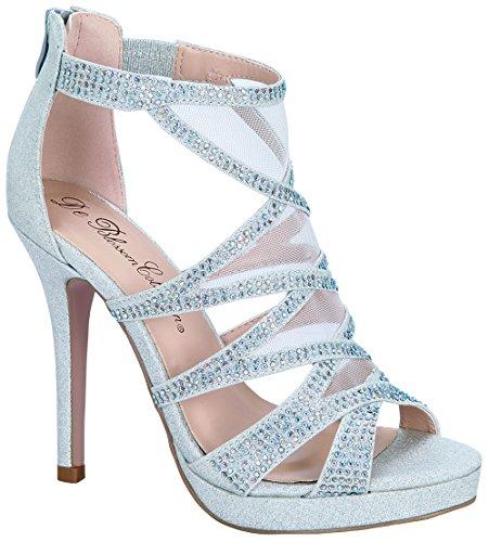 De Collezione Fiore Marna-28 Open Toe Sexy Stiletto Tacco Alto Glitter Con Strass Per Abiti Da Sposa Da Sposa Prom Dress Sandali Argento