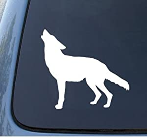 "CMI564 WOLF SILHOUETTE - Howling - Die Cut Vinyl Car Decal Sticker for Car Window Bumper Truck Laptop Ipad Notebook Computer Skateboard Motorcycle | Premium White Vinyl Decal | 5.9"" X 5.2"""