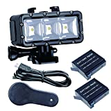 Suptig Waterproof Light High Power Dimmable Dual Battery Waterproof LED Video Light Fill Night Light Diving Underwater Light for Gopro Hero 6 Hero 5 Hero 4 Hero 3+ Hero 3 session and SJCAM or Xiaoyi