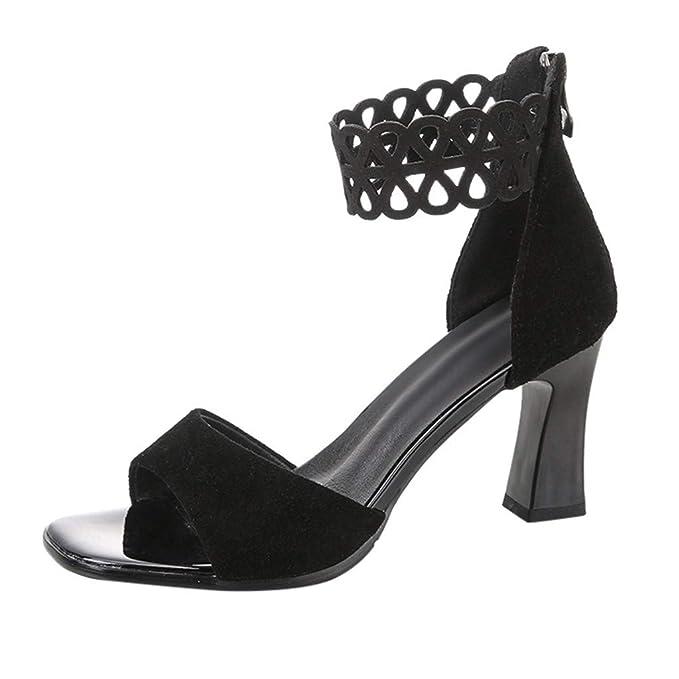Women's Suede Summer Comfort Basic Pump Heels Chunky Heel