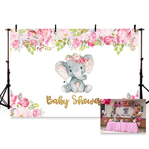 MEHOFOTO 7x5ft Cute Elephant Girl Princess Baby Shower Party Backdrop Pink Flowers Welcome Decorations Photography Background Photo Banner ()